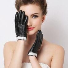 → Перчатки из натуральной кожи женские зимние плюс бархат с сенсорным экраном овчины перчатки бантом