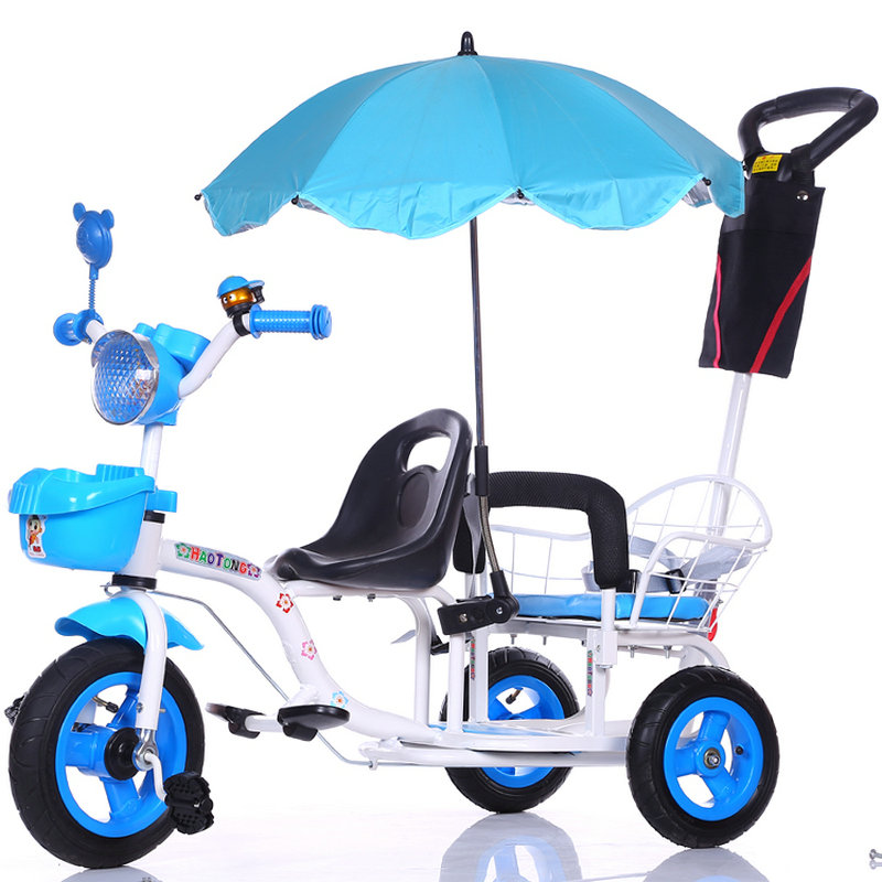 12 inch kids tricycle, twins baby bicycle of 2 seat, fold pedal tandem trike with rubber inflatable wheel and steel frame
