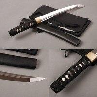SHI JIAN Fully handmade Tanto Japanese Samurai Sword 1060Carbon Steel Double hi Unokubitsukuri Sharp Blade Sword Full Tang Knife
