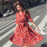 Jielur Gedruckt Schmetterling Sleeve V-ausschnitt Kleid Weibliche Koreanische Dünne Beiläufige Sommer Strand Chiffon Schärpen Boho Vestidos S-XXL