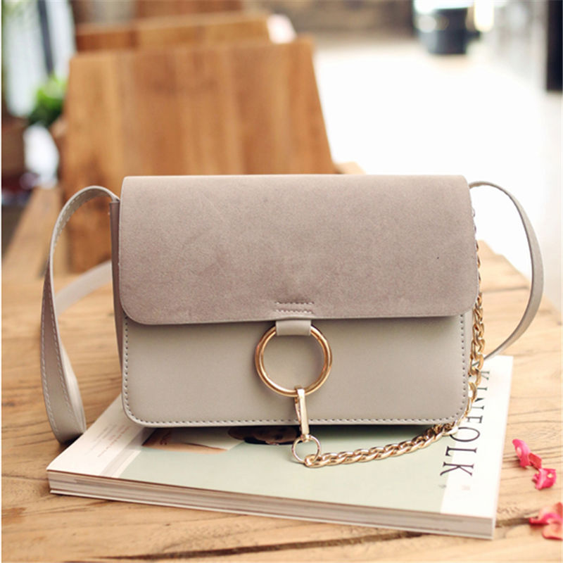 New Socialite Metal Ring Flap Crossbody Bags PU Leather Shoulder Bags For Women Hasp Flap Pocket 3 Colors To Choose