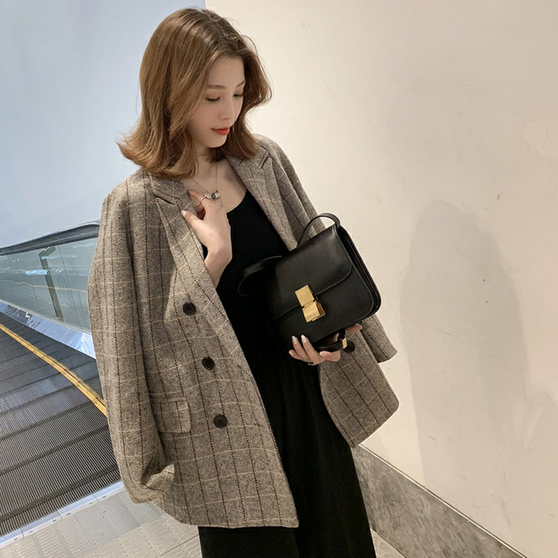 Women Plaid Wool Suit 2019 Spring Autumn Vintage Jacket Work Office Lady Casual Double Breasted Business Female Blazer Coat W623