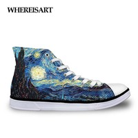 WHEREISART Classic Women Vulcanized Shoes Fashion Hand Paint Art Design Starry Night High Top Canvas Shoes Female Galaxy Flats