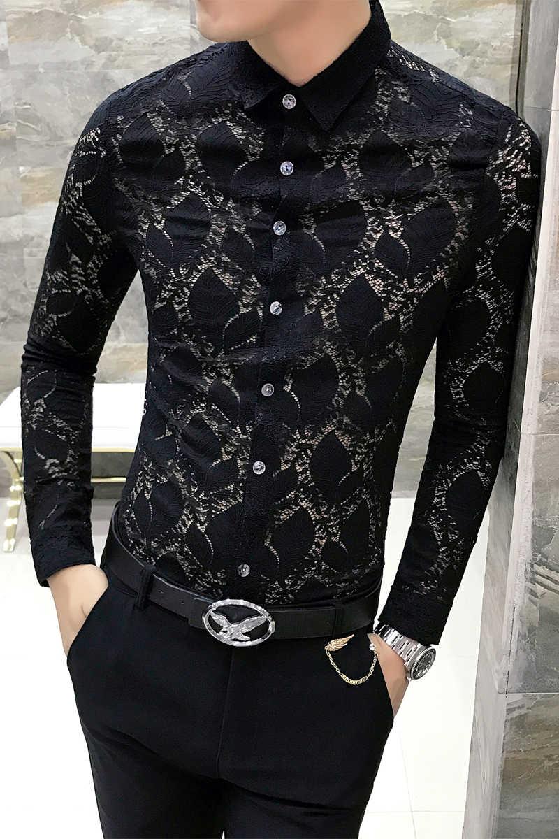 de990d6a37b ... Transparent Shirt mens see through shirts long Sleeve Men Lace Shirt  Sexy Club party Wedding Shirt
