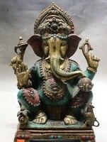 18 Old Tibet Royal Turquoise Ganapati Ganesh Lord Ganesha Elephant Buddha Statue