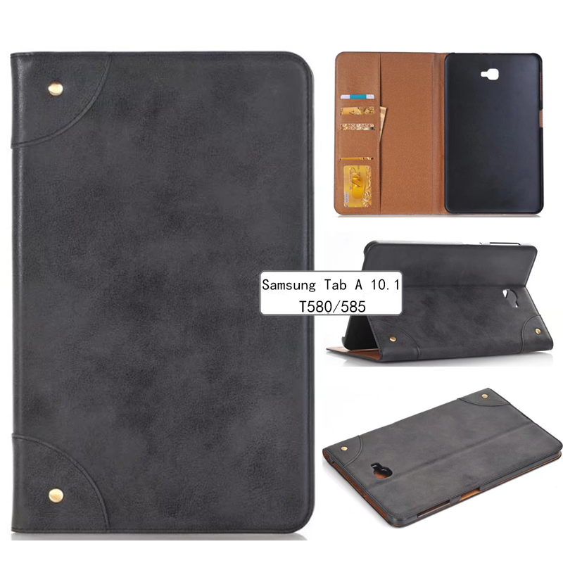 New Tab A A6 10.1 SM T580 T585 T587 Luxury Retro Leather Case Cover - For Samsung Galaxy Tab A 10.1 Tablet multi stand case enkay butterfly pattern protective case w stand for samsung galaxy tab 3 lite t110 multicolor