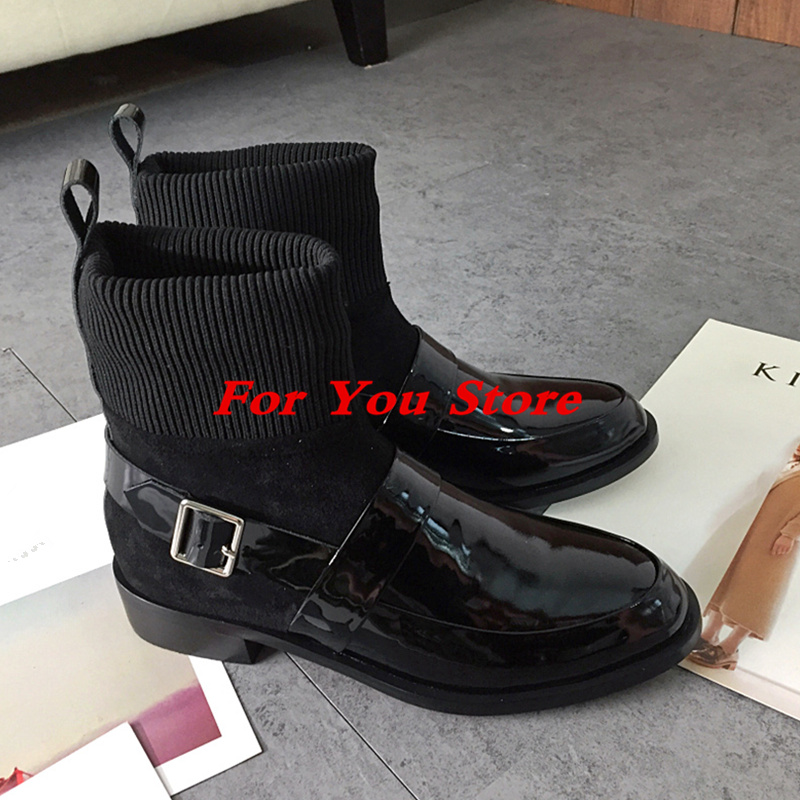 Black Leather Women Short Booties Luxury Brand Metal Buckle Design Sock Boots Super Star Runway Shoes Low Heel Chaussures Femmes miquinha round toe women boots mixed color short booties luxury brand women cool runway fashion star high heel boots buckle shoe
