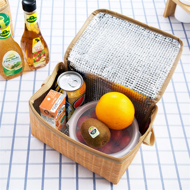 Portable Insulated Thermal Cooler Lunch Box Canvas Imitation Rattan Lunch Bag Picnic Container Waterproof Leakproof Lunch Box
