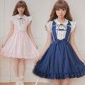 2016 летний новый прибытие Япония бренд мягкой сестра лук повязки dress симпатичные темно-синий матрос военно-морского флота dress рукавов АО