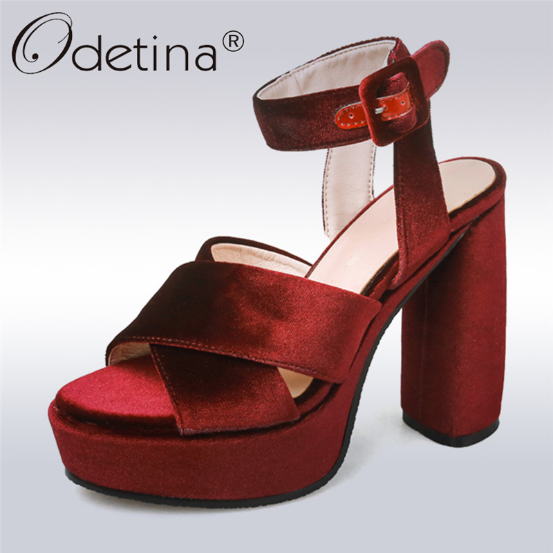 Odetina 2018 New Fashion Women Sandals Extreme High Heels 13 CM Elegant Party Shoes Ankle Strap Platform Peep Toe Big Size 33-43 brand new sale fashion low fretwork heels rhinestone women party shoes elegant sweet ankle buckle strap lady top quality sandals