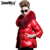 2015 Winter A Raccoon Large Fur Collar Down Coat With A Hood Slim Thickening Female Outerwear