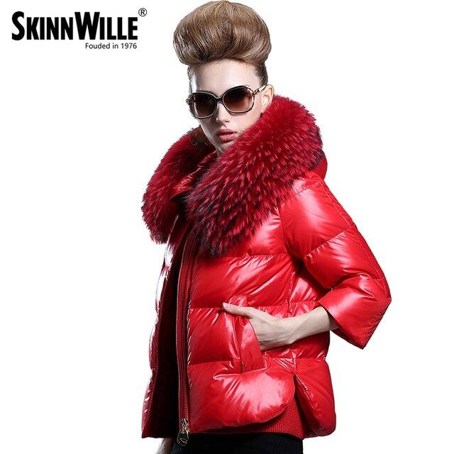 12fc0a935bd6b4 Skinnwille Donne Giacche Invernali Cappotti Cappotto Giù Donne Giacca 2017  Rivestimento di Inverno della Pelliccia Piumino