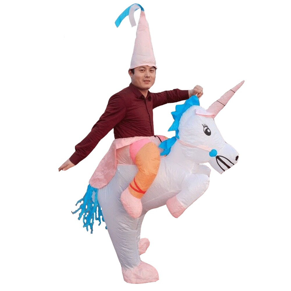 Adults Kids Halloween Inflatable Horse Costume Cosplay Party Blow Up Dresses