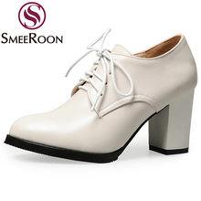 b43b0e07e5 Smeeroon 2018 mulher bombas lace up vestido ocasiões formais mulheres  maduras sapatos à prova d  água de salto alto grosso sapat.