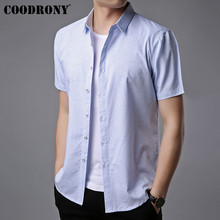 COODRONY 2019 Summer New Social Business Casual Shirts Soft Cotton Short Sleeve Shirt Men Brand Clothing Camisa Masculina S96041