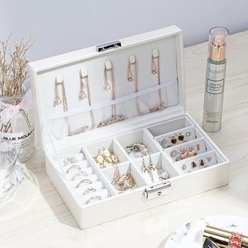 Organizador de maquillaje de joyería portátil para mujer, caja de colección de lápices labiales cosméticos de viaje, collares, pendientes, pulsera, accesorios de exhibición