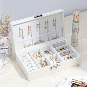 Women Portable Jewelry Makeup Organizers Travel Cosmetic Lipstick Collection Box Necklaces Earrings Bracelet Display Accessories(China)