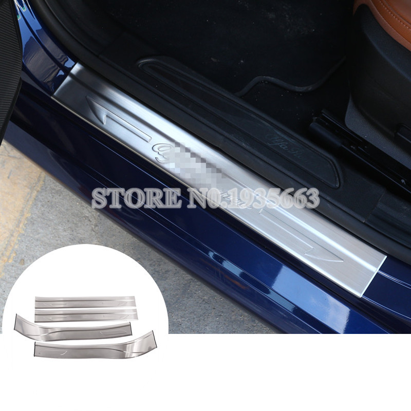 For Alfa Romeo Giulia Stainless Outside Door Sill Scuff Plate 2017 4pcs alfa romeo 166 2 4 в ростове