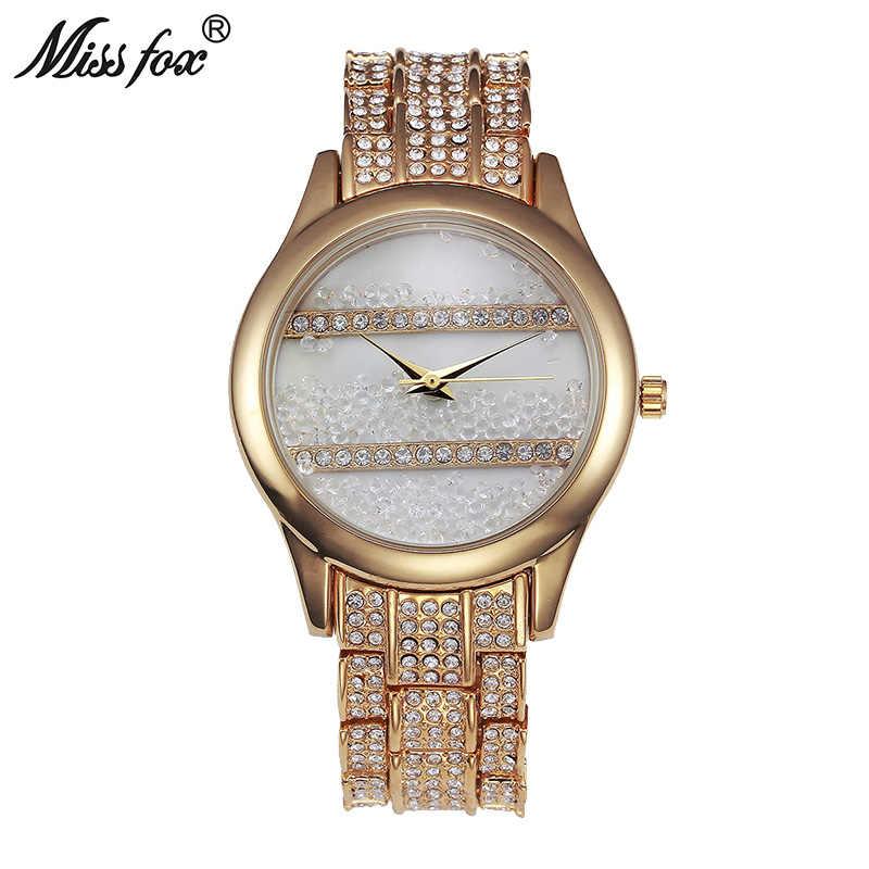Miss Fox montre Simple femmes strass déplacer cristal étanche résistant aux chocs adolescentes montres cadeau Relogios Mulher