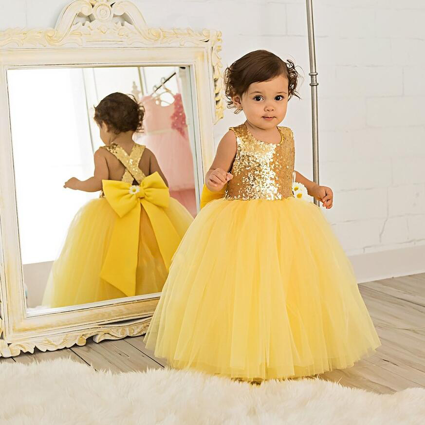 Puffy bling gold sequins Yellow baby tutu first birthday party dress flower girl criss-cross back ball gown prom gown with bow long criss cross open back formal party dress