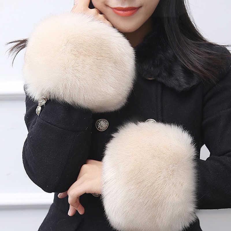 1 par 2019 Elegante Mulheres Pulseira Cuff Warmer Inverno Suave Para Baixo Casaco da Pele Do Falso Fofo Manga Manguito Outerwear Manguito Presentes