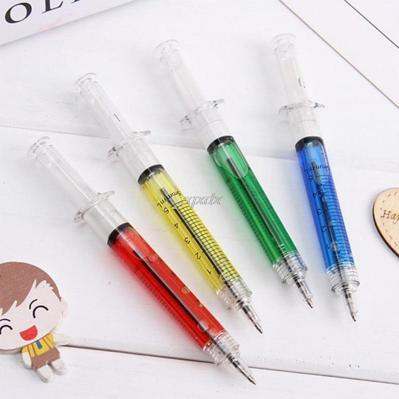 4Pcs Novelty Syringe Injection Gel Pen Ballpoint Black Ink Liquid Medical Style Drop Ship