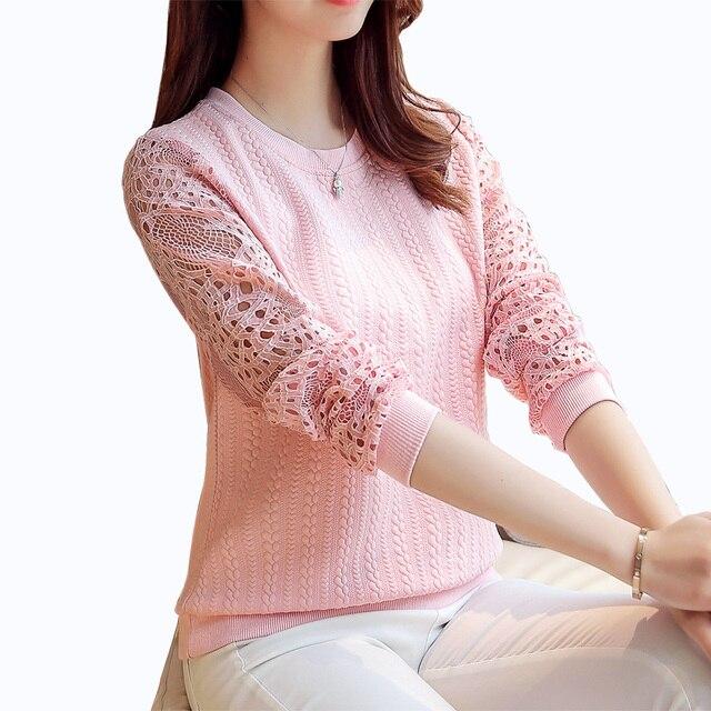2017 Весна Новые Поступления Женщин Пуловеры Мода Sexy выдалбливают лоскутная кружева топы Трикотажные свитера женщин