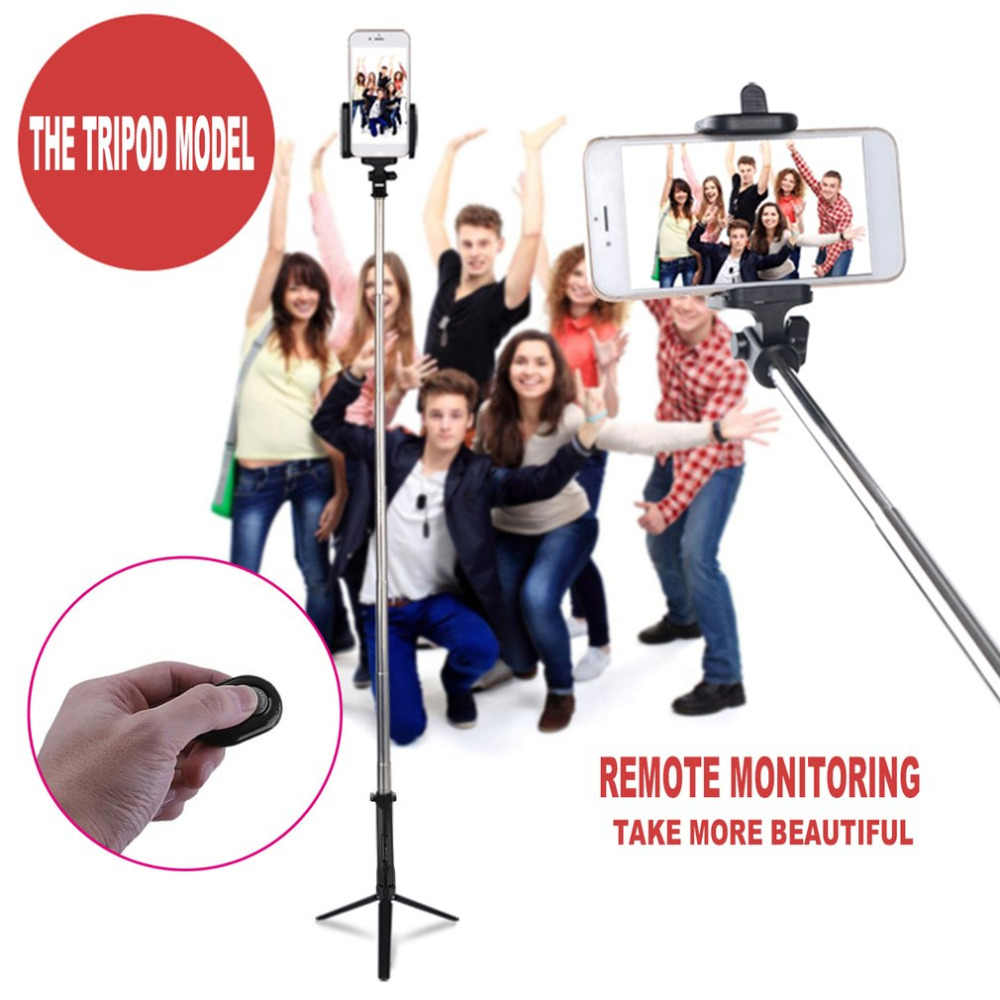 4-In-1 Wireless Bluetooth 4.0 Remote Shutter + Handheld Ponsel Selfie Stick Monopod + Tripod + Holder untuk IOS android Smartphone