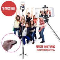 4 en 1 inalámbrico Bluetooth 4,0 obturador Remoto + móvil de mano Selfie Stick Monopod + trípode + soporte para SmartPhone IOS Android