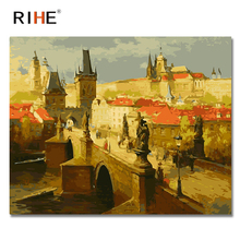 RIHE Sunset Castle Diy Painting By Numbers Abstract Rampart Oil On Canvas Cuadros Decoracion Acrylic Wall Picture 2018