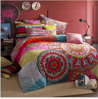 2016 New Design Autumn&Winter Printed 100% Cotton Bohemia 4 Pieces Fitted Style Duvet Cover Set Queen Size(Without Comforter)