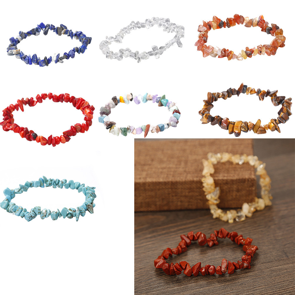 2018 New Fahionable Freeformed Chip Beads Handmade 5-8mm Mixed Natural Chip Beads Stretchy Bracelet