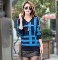 2015 Новый Весна Осень Женская Одежда Плюс Размер Тонкий V-образным Вырезом Вязаный Мода Полосатый Повседневная Шерстяные Пуловеры Свитер ZL2519