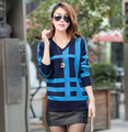2015 New Spring Autumn Women Clothing Plus Size Slim V-neck Knitted Fashion Striped Casual Woolen Pullovers Sweater ZL2519