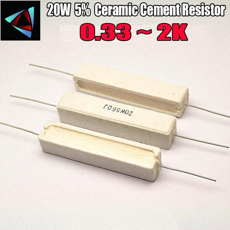 20W 5% Ceramic Cement Resistor 0.33 0.5 1 2 2.2 3 4.7 5.1 6.8 8.2 10 15 20 22 24 30 33 39 47 51 56 68 72 100 120 150 1K