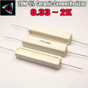 20W 5% Ceramic Cement Resistor 0.33 0.5 1 2 2.2 3 4.7 5.1 6.8 8.2 10 15 20 22 24 30 33 39 47 51 56 68 72 100 120 150 1K(China)