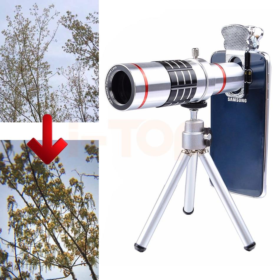 imágenes para 2017 Clips Universal 18X Telescopio Óptico de La Lente Lentes de Cámara Teleobjetivo Zoom P9 P10 lente Para HUAWEI Honor 8 9 Trípode Teléfono Celular