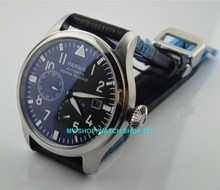 47 мм Парнис черный циферблат Самовзводные движение запас хода мужчины часы механические часы g003a
