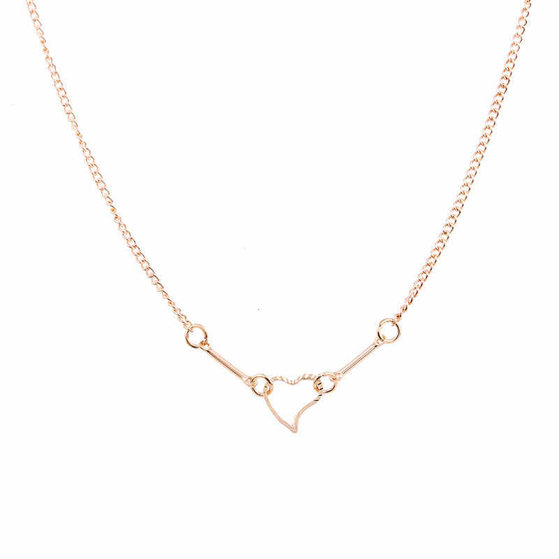 Simple I Love You Heart Choker Necklaces Pendants Fashion Gold Color Heart Lucky clavicle Chockers Necklace Valentine's Day Gift