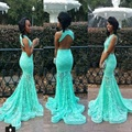 Lace Mermaid Prom Dresses for Black Girls Ice Blue Backless Sexy Party Dress for Teens Vestido Festa Debutante 2016