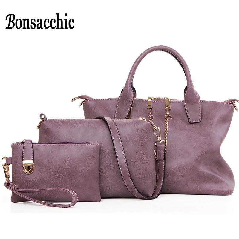 Designer Handbags High Quality 2017 Purses and Handbag Set of 3 Women's Shoulder Bag Leather Messenger Bag with Chain Bolsas supply chain of transmission quality and affordable 20ab