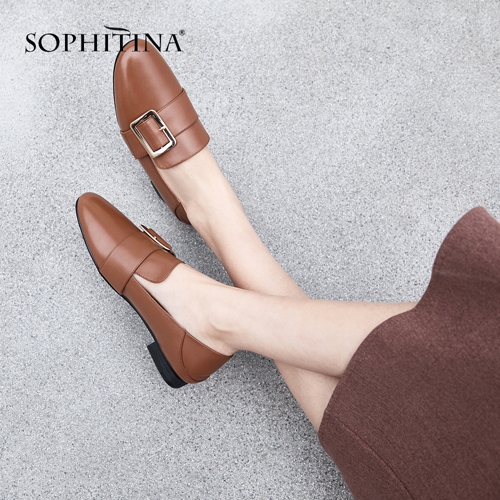 SOPHITINA Comfortable Flats High Quality Round Toe Casual Slip on Shoes Woman Fashion Square Buckle Metal