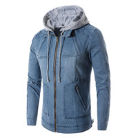 The North Of Denim Jacket Men Hooded Sportswear Outdoors Casual Fashion Jeans Jackets Hoodies Cowboy Mens