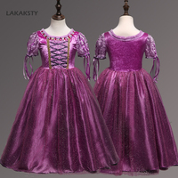 LAKAKSTY Kids Dress Girls Performance Garment Children Clothing Rapunzel Princess Dress For Girls Ankle Length Cosplay Costume