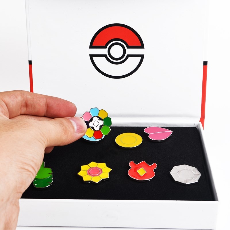 Pokemon Gym Badges Kanto Johto Hoenn Sinnoh Unova Kalos League Region Orange Islands Pins Brooches+Box Set Gift Cosplay Prop