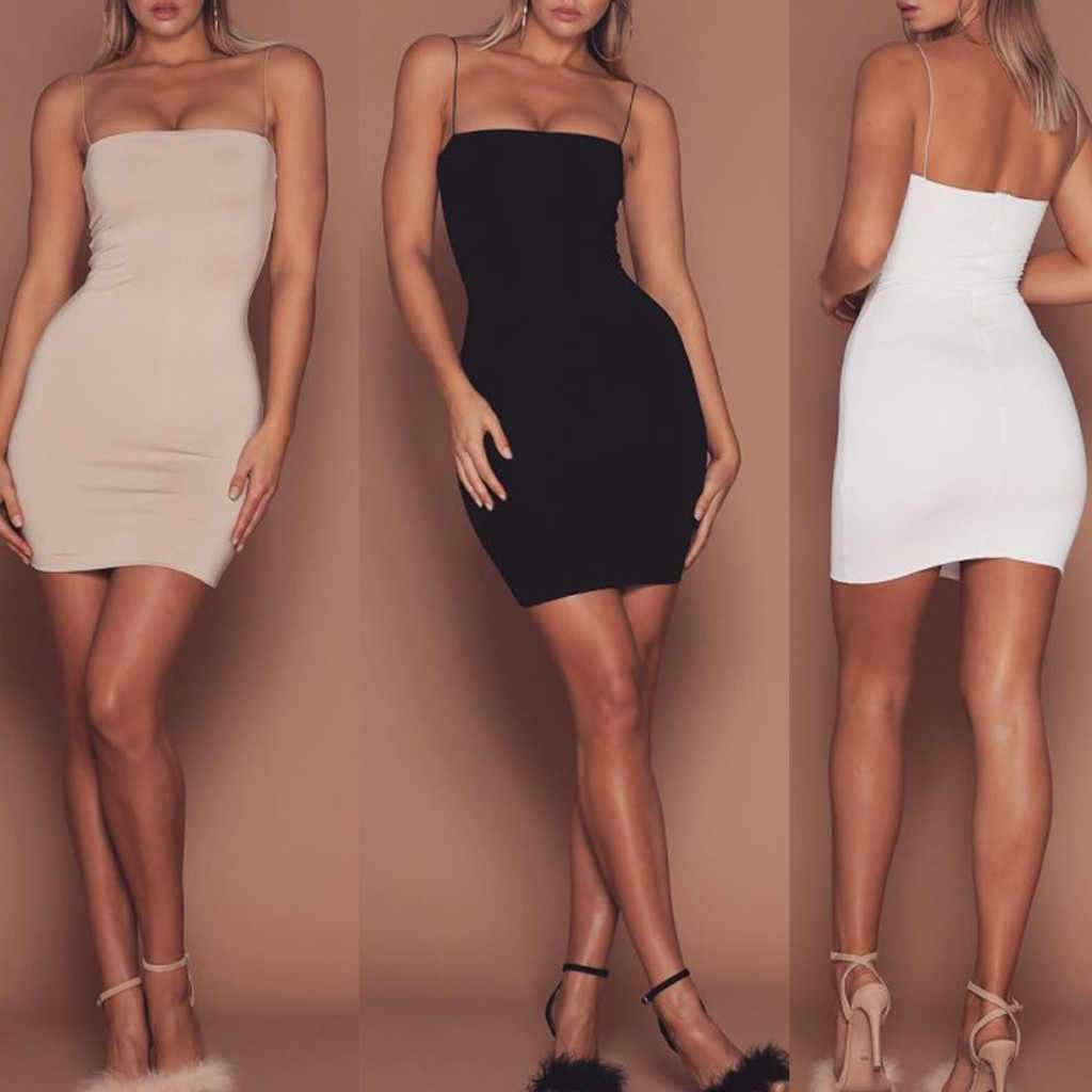 Été noir Sexy robe femmes vêtements 2019 Sexy solide sans manches Spaghetti sangle robe de pansement gothique robe moulante robes