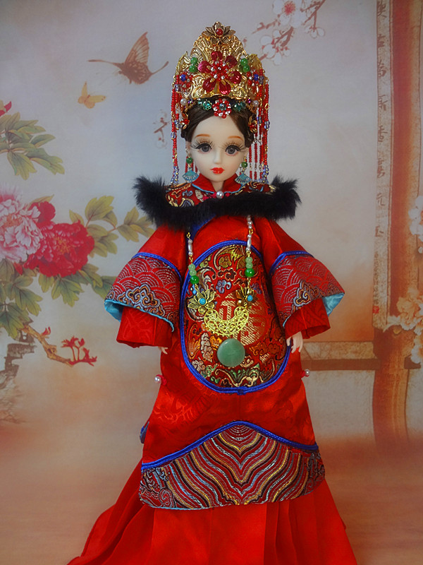32CM Handmade Collectible Chinese Qing Dynasty Queen Dolls Pretty Bjd Dolls Girls Toys Christmas Gifts For Children handmade ancient chinese dolls 1 6 bjd jointed doll empress zhao feiyan dolls girl toys birthday gifts
