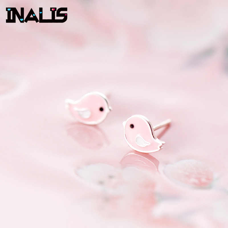 INALIS Cute Simple Stud Earrings 925 Sterling Silver Pink Chicken Shape Brincos Fine Jewelry for Girl Friend Party Gift