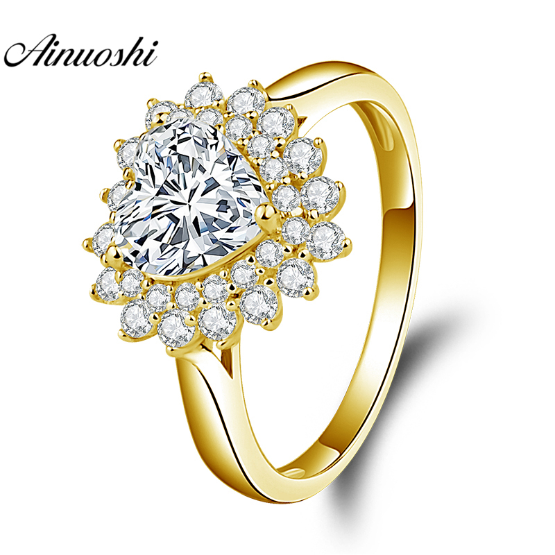 AINUOSHI 10K Solid Yellow Gold Heart Halo Ring 1.25ct Heart Cut SONA Diamond Ring Luxury Wedding Engagement Jewelry Women Ring