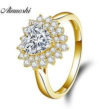 4897dab7ca79 AINUOSHI 10 K sólido oro amarillo corazón Halo 1.25ct corazón Cut SONA boda  de lujo joyería de compromiso mujeres anillo